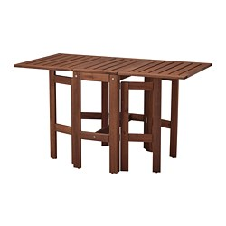 ÄPPLARÖ - Gateleg table, outdoor, brown stained