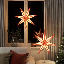 STRÅLA - Kap lampu, merah/putih