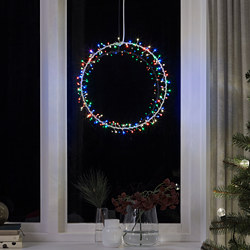 STRÅLA - LED pendant lamp, battery-operated ring shaped/flashing multicolour