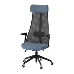 JÄRVFJÄLLET - Office chair with armrests, Gunnared blue/black