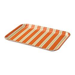 SOMMARLIV - Tray, striped/orange/yellow