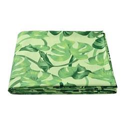SOMMARLIV - Tablecloth, leaf patterned/green