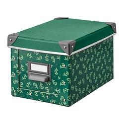 FJÄLLA - Kotak penyimpanan dengan penutup, hijau/pola bunga