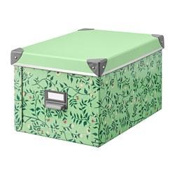 FJÄLLA - Kotak penyimpanan dengan penutup, hijau muda/pola bunga