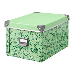 FJÄLLA - Storage box with lid, light green/flower patterned