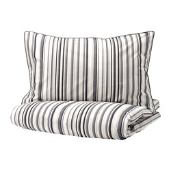 RANDGRÄS - Quilt cover and 2 pillowcases, grey/stripe