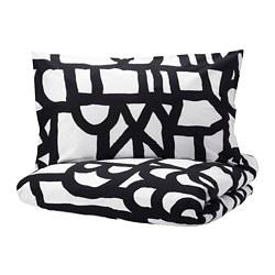 SKUGGBRÄCKA - Sarung quilt dan sarung bantal, putih/hitam