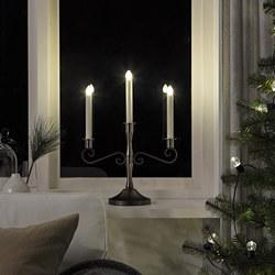 STRÅLA - LED 3-armed candelabra, battery-operated/black