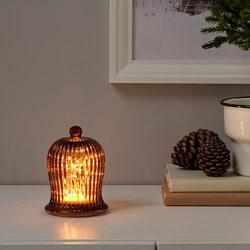 STRÅLA - LED table decoration, battery-operated/bell-shaped orange