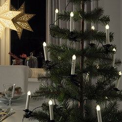 STRÅLA - LED lighting chain with 24 lights, candle shaped with clip