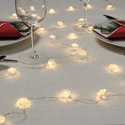 STRÅLA - Lampu rantai LED dengan 30 lampu, dioperasikan dengan baterai bunga/putih