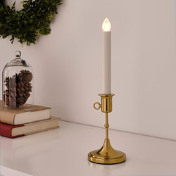 STRÅLA - LED candle holder, battery-operated, brass