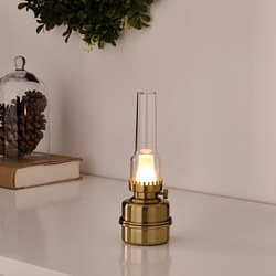 STRÅLA - LED table lamp, battery-operated/brass-colour