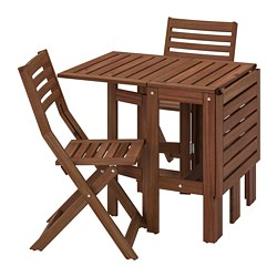 ÄPPLARÖ - Table+2 folding chairs, outdoor, brown stained