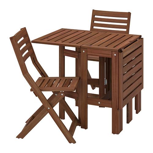 ÄPPLARÖ meja+2 kursi lipat, luar rg