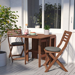 ÄPPLARÖ - Table+2 folding chairs, outdoor, brown stained/Frösön/Duvholmen dark grey