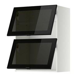 METOD - Wall cab horizontal w 2 glass doors, white/Jutis smoked glass