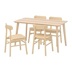 RÖNNINGE/LISABO - Meja dan 4 kursi, veneer kayu ash/kayu birch