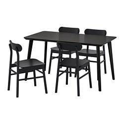 RÖNNINGE/LISABO - Meja dan 4 kursi, hitam/hitam