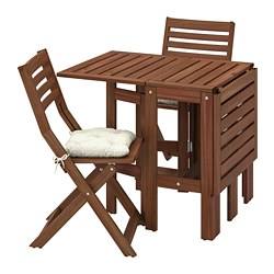 ÄPPLARÖ - Table+2 folding chairs, outdoor, brown stained/Kuddarna beige