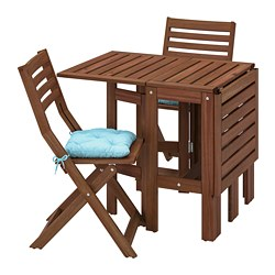 ÄPPLARÖ - Table+2 folding chairs, outdoor, brown stained/Kuddarna light blue