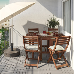 ÄPPLARÖ - Table+4 folding chairs, outdoor, brown stained/Kuddarna beige