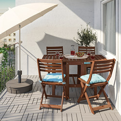 ÄPPLARÖ - Table+4 folding chairs, outdoor, brown stained/Kuddarna light blue