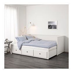 HEMNES - Day-bed w 3 drawers/2 mattresses, white/Husvika firm
