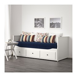 HEMNES - Day-bed w 3 drawers/2 mattresses, white/Malfors firm