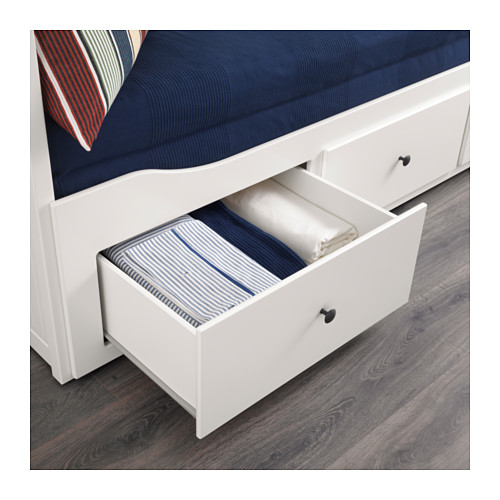 HEMNES day-bed w 3 drawers/2 mattresses