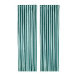 ELDTORN - ELDTORN, room darkening curtains, 1 pair, grey-turquoise, 145x250 cm
