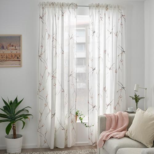 RÖDLÖNN - curtains, 1 pair, white/flower, 145x250 cm   IKEA Indonesia - PE782734_S4