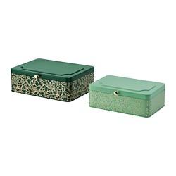 ANILINARE - Kotak dekorasi, set isi 2, hijau warna emas/logam