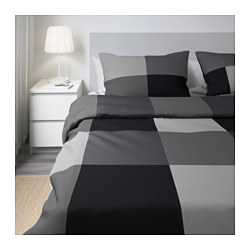 BRUNKRISSLA - Sarung quilt dan 4 sarung bantal, hitam