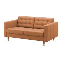 LANDSKRONA - Sofa 2 dudukan, Grann/Bomstad coklat keemasan/kayu
