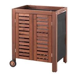 ÄPPLARÖ - Storage cabinet, outdoor, brown stained