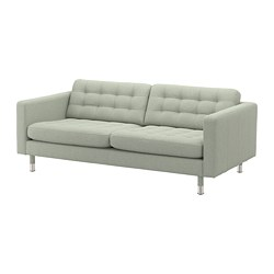 LANDSKRONA - Sofa 3 dudukan, Gunnared hijau muda/logam