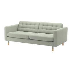 LANDSKRONA - Sofa 3 dudukan, Gunnared hijau muda/kayu