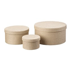 KVARNVIK - Storage box, set of 3, beige