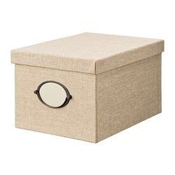 KVARNVIK - Storage box with lid, beige