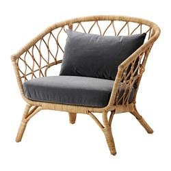 STOCKHOLM 2017 - Armchair with cushion, rattan/Sandbacka dark grey