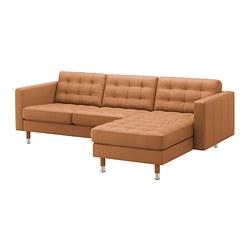 LANDSKRONA - Sofa 3 dudukan, dengan chaise longue/Grann/Bomstad emas-cokelat/logam
