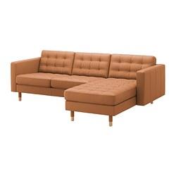 LANDSKRONA - Sofa 3 dudukan, dengan chaise longue/Grann/Bomstad coklat keemasan/kayu