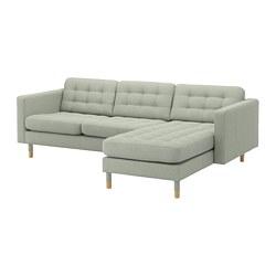 LANDSKRONA - Sofa 3 dudukan, dengan chaise longue/Gunnared hijau muda/kayu