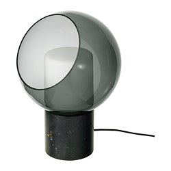 EVEDAL - Lampu meja, marmer/abu-abu bulat