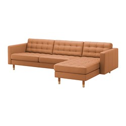 LANDSKRONA - Sofa 4 dudukan, dengan chaise longue/Grann/Bomstad coklat keemasan/kayu