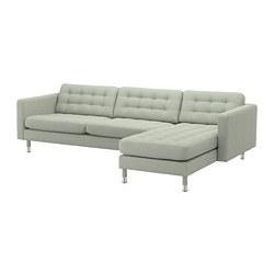 LANDSKRONA - Sofa 4 dudukan, dengan chaise longue/Gunnared hijau muda/logam