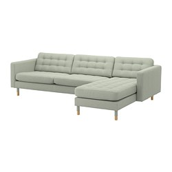 LANDSKRONA - Sofa 4 dudukan, dengan chaise longue/Gunnared hijau muda/kayu