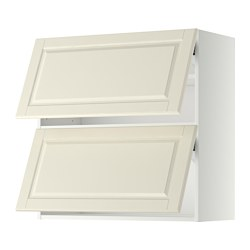 METOD - Wall cabinet horizontal w 2 doors, white/Bodbyn off-white