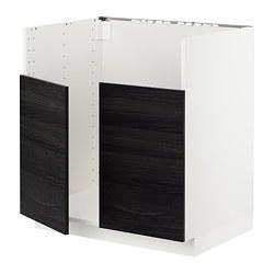 METOD - Base cab f BREDSJÖN dbl bowl sink, white/Tingsryd black